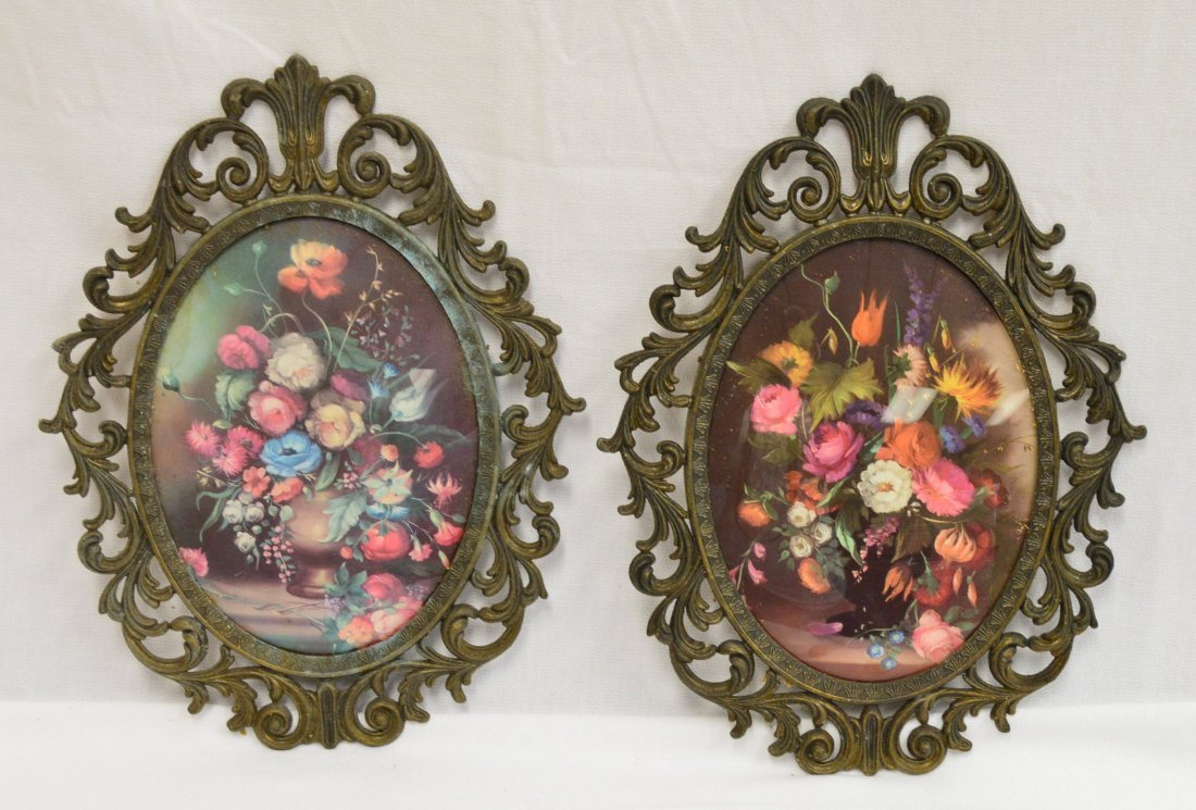 Lot of 2 Bubble Glass & Brass Framed Prints