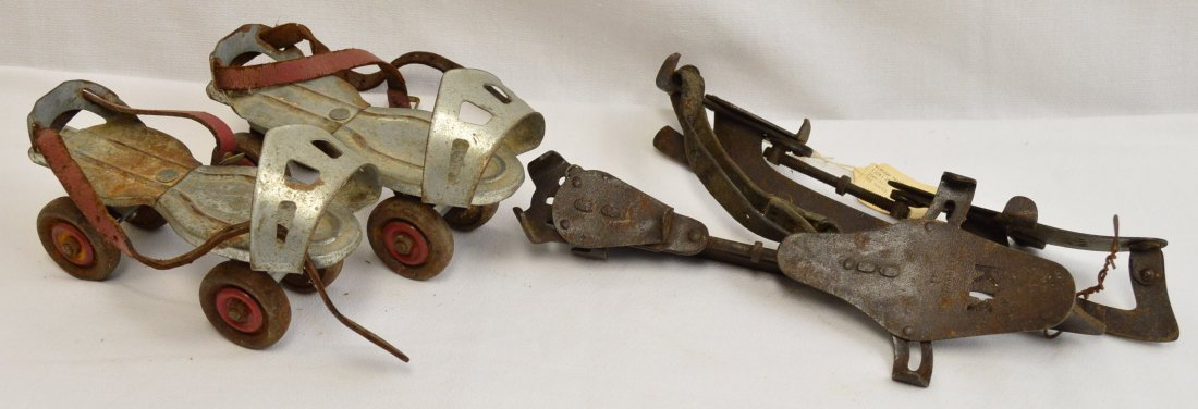 Pair of Antique Ice Skates & Vintage Roller Skates