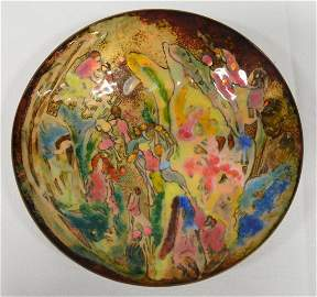 Wood Nymphs Enameled Copper Bowl by Puyau