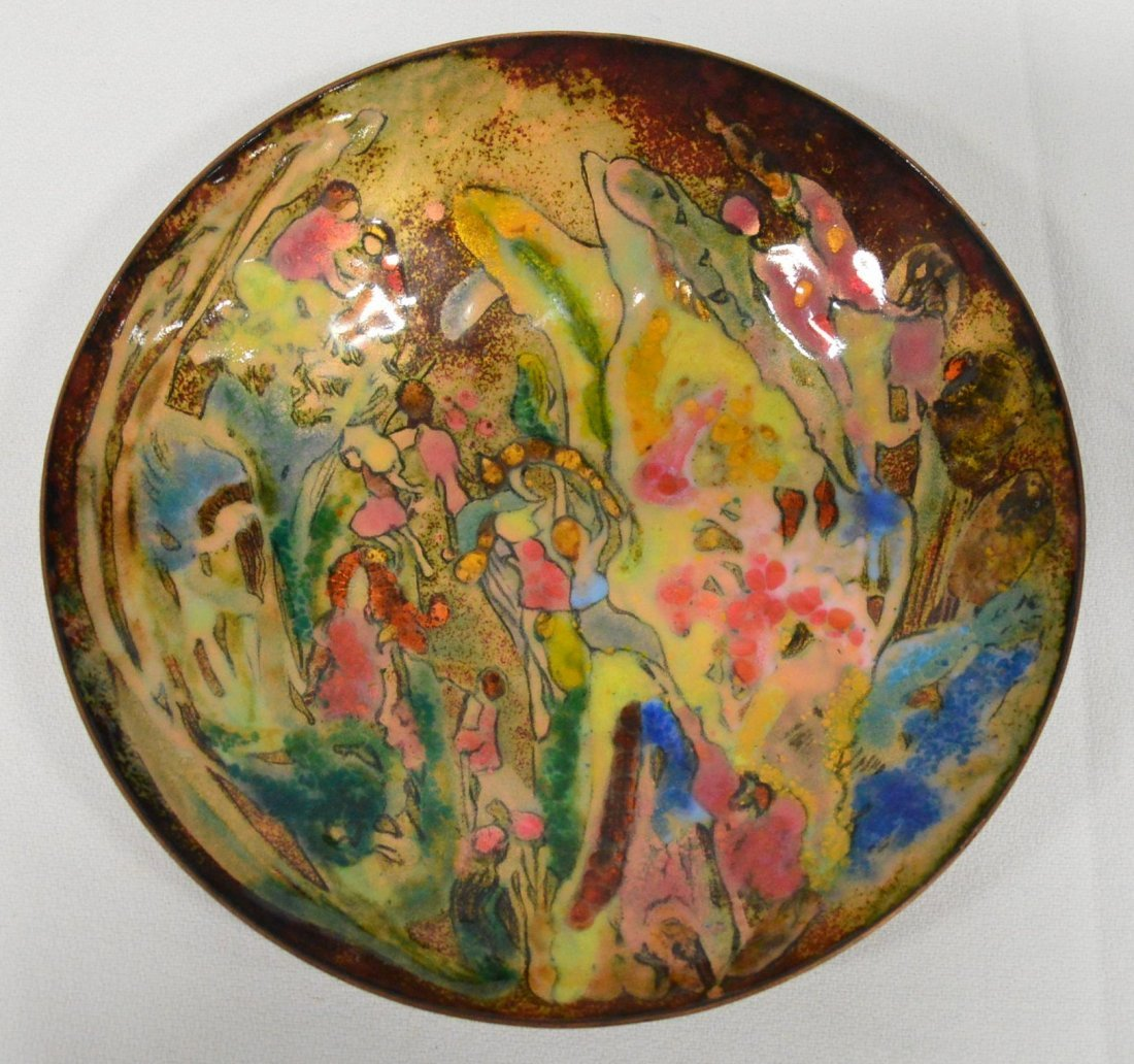 Wood Nymphs Enameled Copper Bowl by Puyau