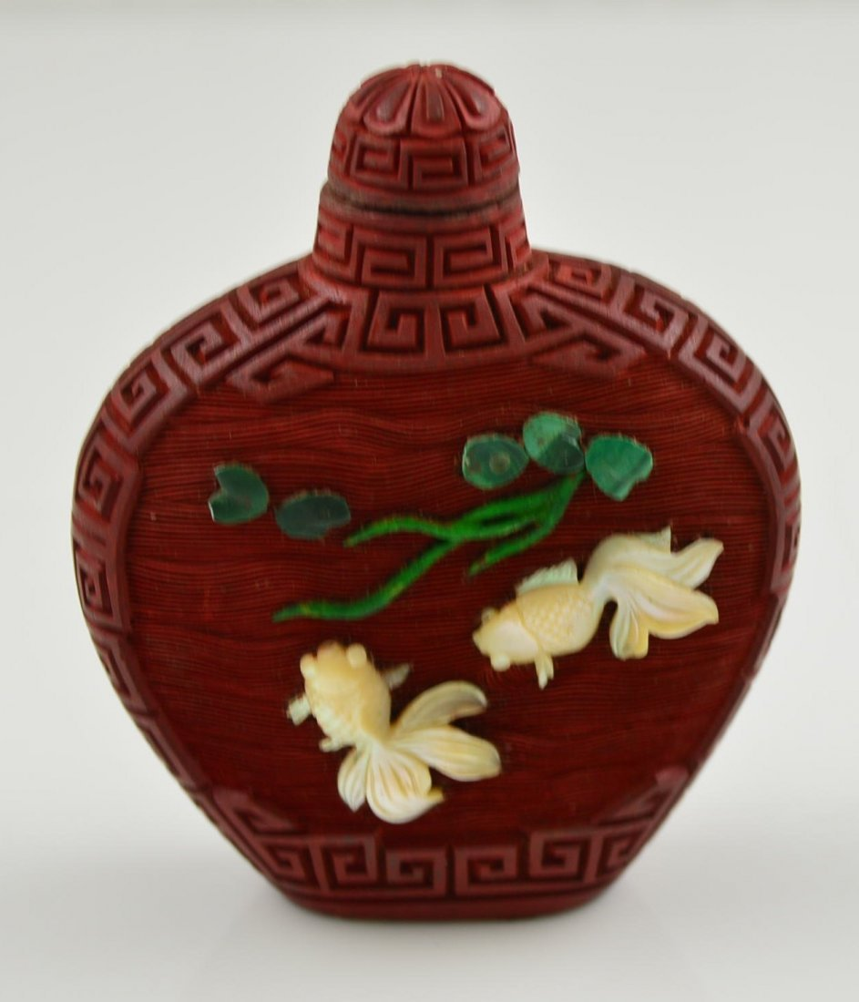 Chinese Cinnabar Snuff Bottle #2