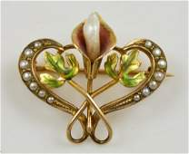 10K Gold Calla Lily Enamel Pin with Pearl