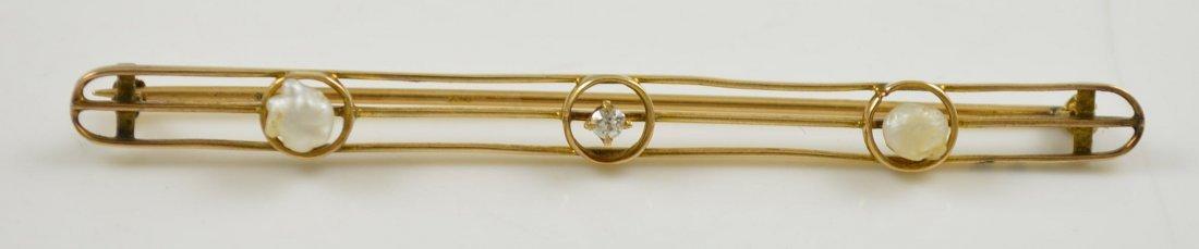 10K Gold Art Deco Bar Pin Diamonds Pearls