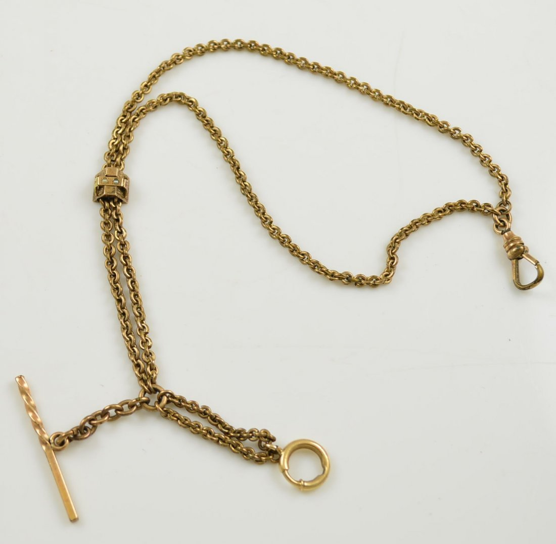 Gold Filled Watch Chain with Seed Pearl Slide