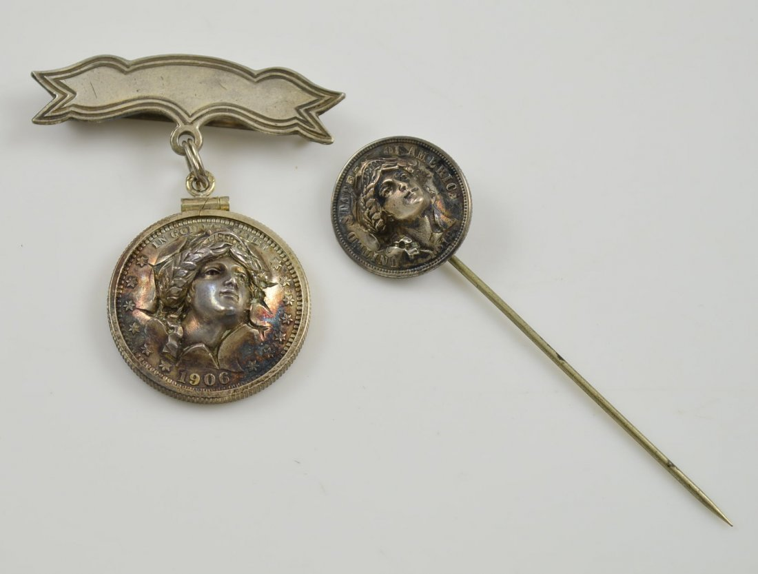 Lot of 2 Lady Liberty Sterling Coin Jewelry