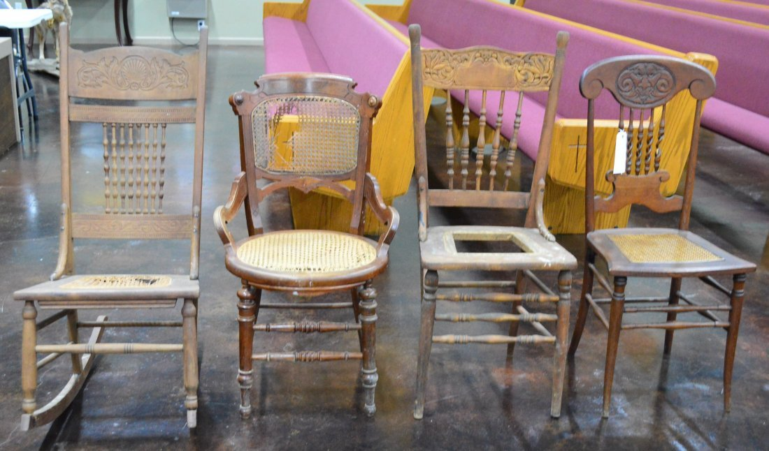 Lot of 4 Various Styled Wooden Chairs