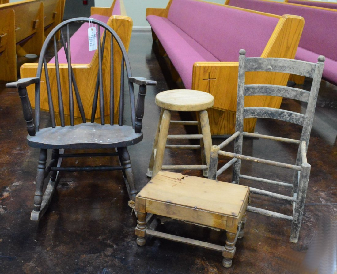 Windsor Rocking Chair & Chair, Stools