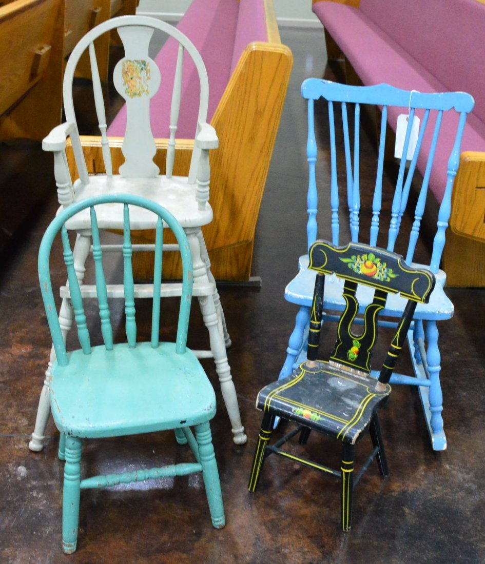 Collection of Antique Painted Chairs