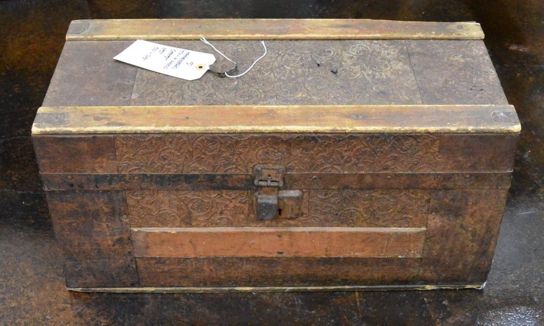 Antique Hammered Tin & Wood Mini Chest