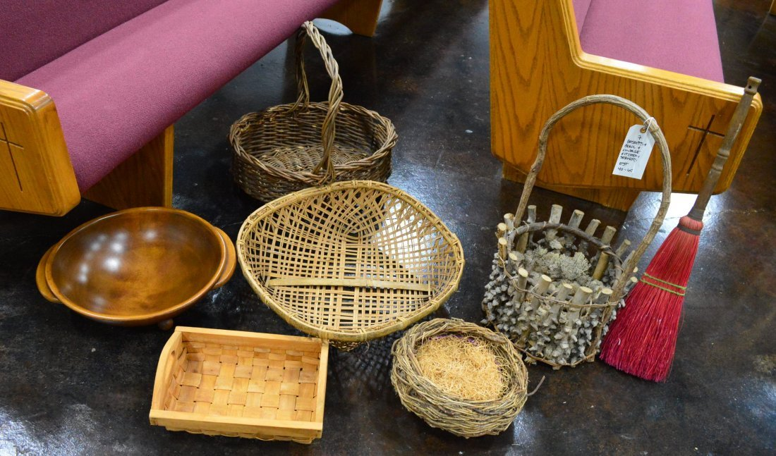 Lot of Baskets & Wood Dough Bowl