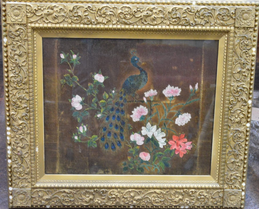 Antique Plaster & Wood Framed Peacock Painting