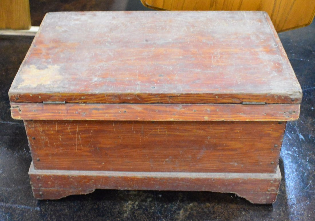 Antique Red Stained Pine Chest