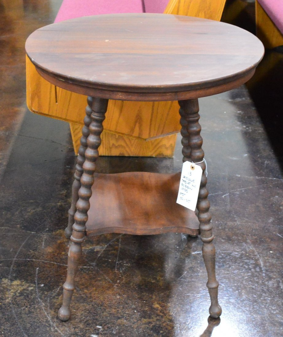 Antique Wooden Round Parlor Table