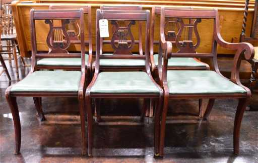 - Set Of 6 Antique Harp Back Wooden Dining Chairs