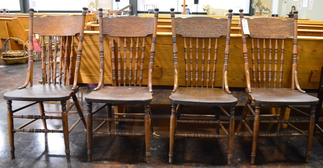 Set of 4 Matching Antique Pressback Chairs