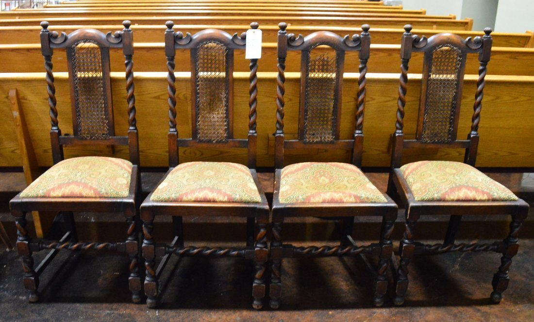 Set of 4 Matching Antique Jacobean Chairs
