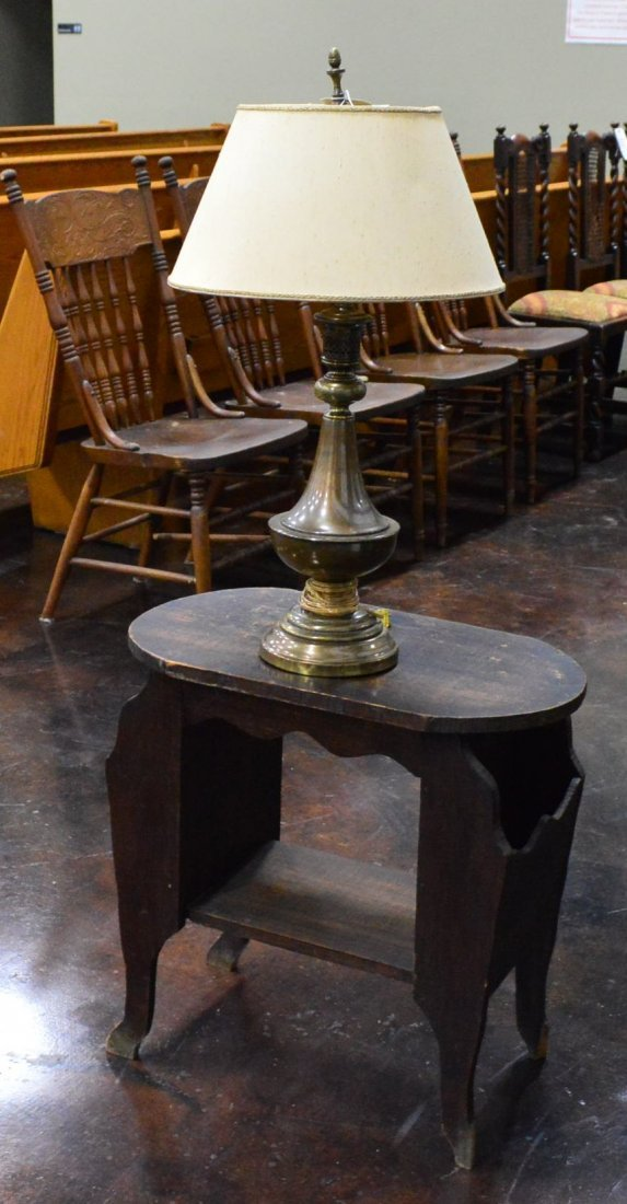 Magazine End Table & Antique Brass Lamp