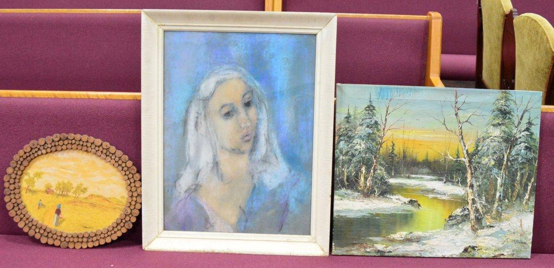 Watercolor Portrait, Oil Landscape & Tramp Art Painting