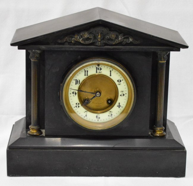 R & W Sorley Paris Slate Mantle Clock