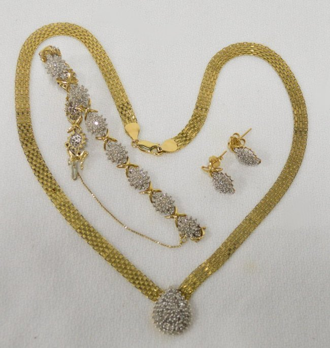 Diamond Bracelet, Teardrop Necklace & Diamond Earrings