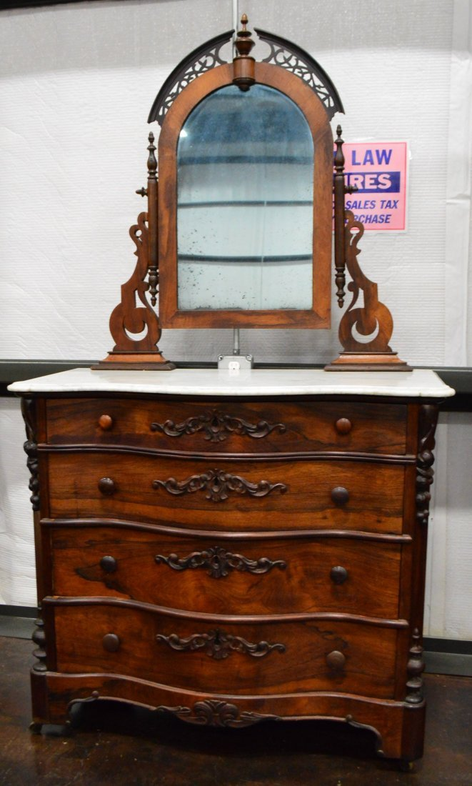 Antique Rosewood Dresser with Marble Top