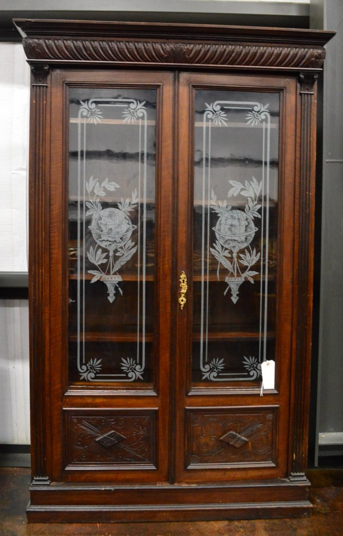 Antique Armoire with Etched Glass