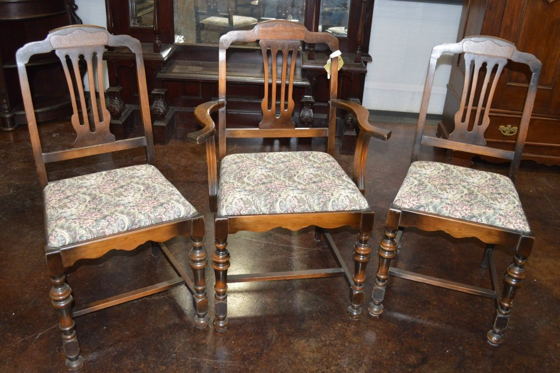 Set of 6 Matching Antique Walnut Dining Chairs