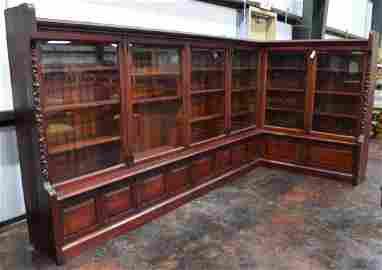 RARE Corner Walnut Bibliotheque