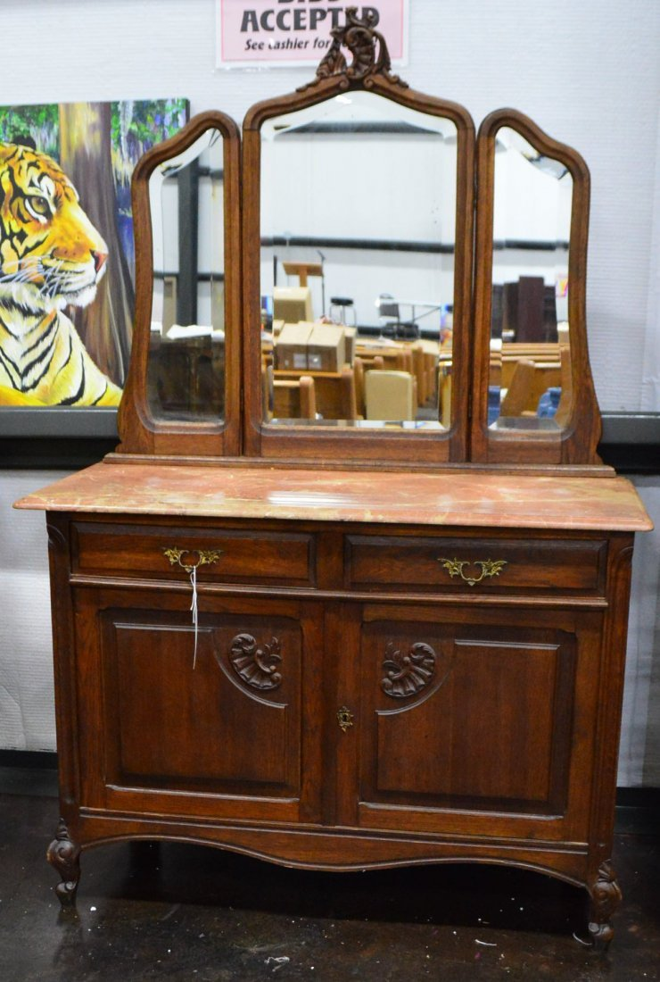 French Dresser with Marble Top & Adjustable Mirror