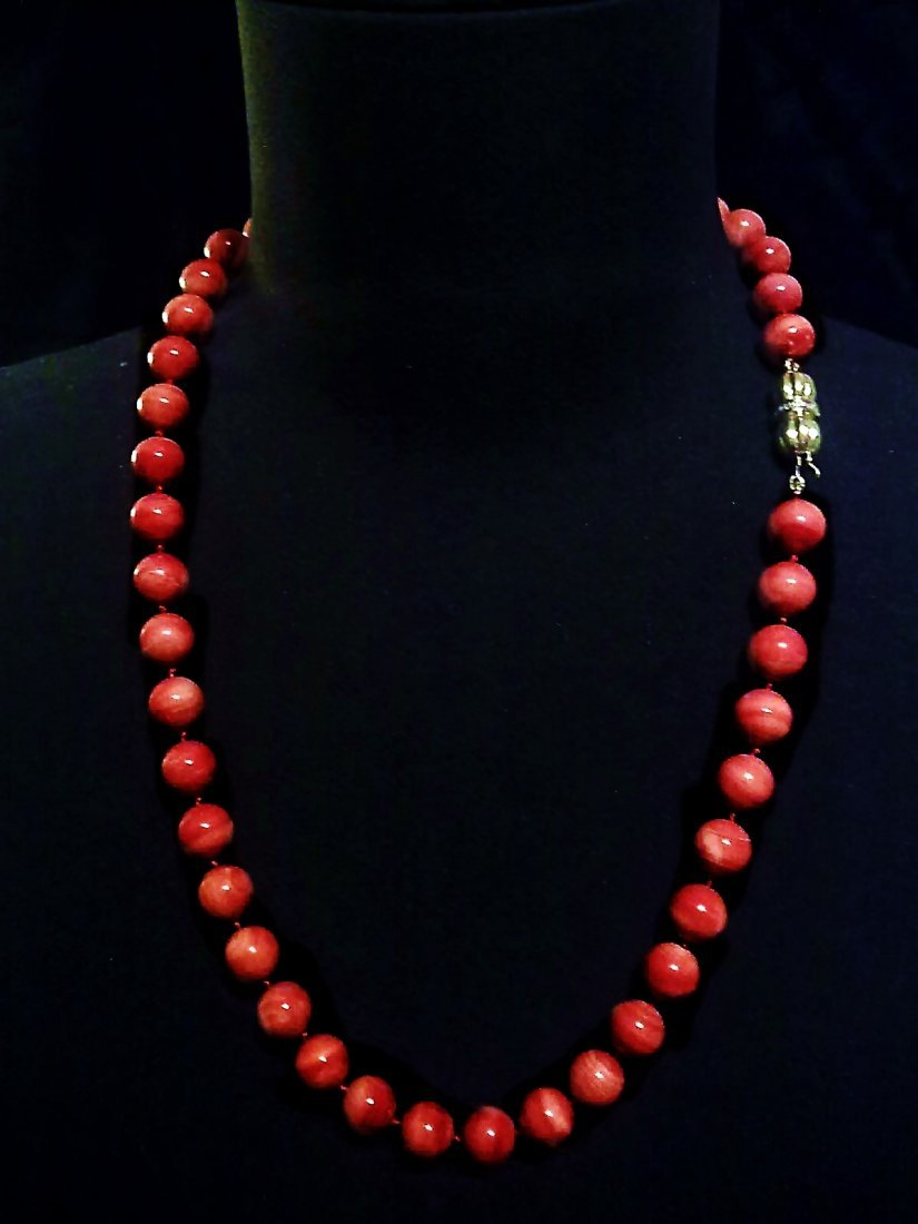 12 MM- NATURAL RED CORAL -GOLD 18K & DIAMONDS NECKLACE