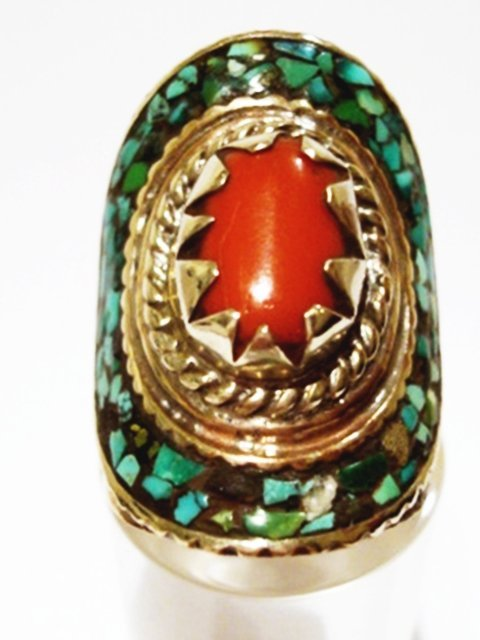 CORAL- TURQUOISE  SILVER RING -ETHNIC