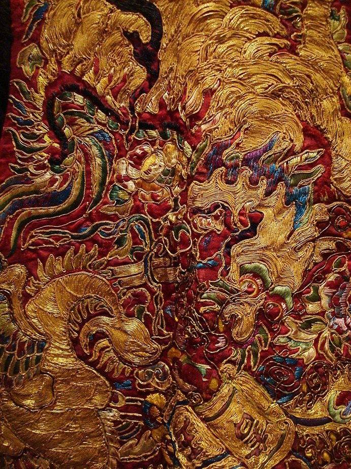 Chinese Imperial silk, gold embroidered dragons phoenix
