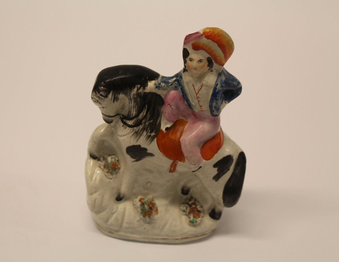 Staffordshire Antique Painted Figurine - Man On Horse