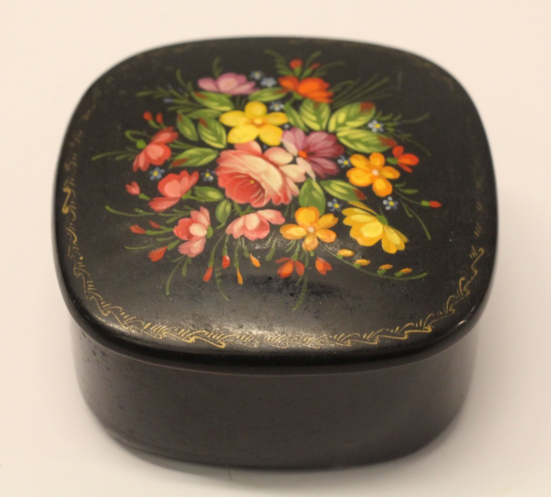 USSR Paper Mache Hand Painted Lacquered Box