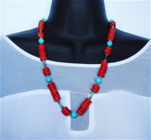 Natural Red Coral/Turquoise Necklace Gold Filled Clasp