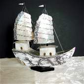 Vintiage Ship Mother Pearl Hand Painting Dragon