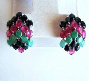 Natural Multicolor Earrings 44.92Ct 18k W/G Overlay