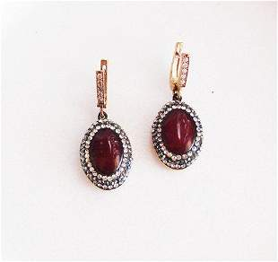Red Agate Earrings 18k Y/g Overlay