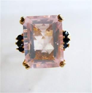 Natural Rose Quartz Black Diamond Ring 11.14Ct 14k Y/g
