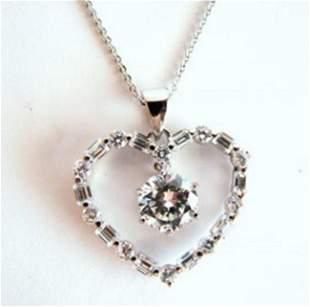 Creation Diamond Heart Pendant 3.75Ct 18k W/g Overlay