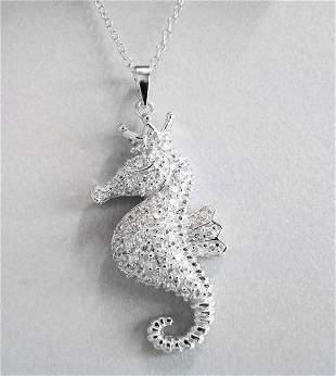King Sea Horse Pendant Creation, Diamond 18k W/g