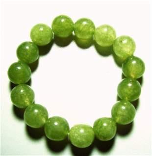 Natural Jadeite Jade Bead Green Bracelet Grade: B