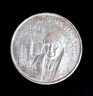 1953 MEXICO Large SILVER 5 Pesos Coin HERO Hidalgo Mexi