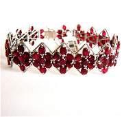 Bracelet Natural Ruby 47.08Ct 18k W/g Overlay