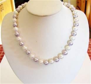 "Swarovski Pearl MultiColor Necklace 10 mm/18""inch"