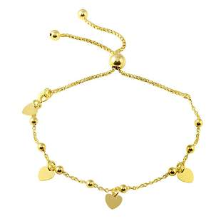 Heart Charms Bracelet 18k Y/G Overlay 925