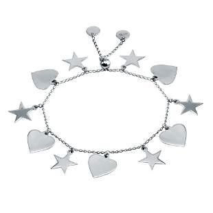 Heart/Star Charms Bracelet 18k W/G Overlay 925