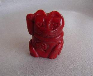 Loose Pendant Coral Carved Cat 95.80 Ct