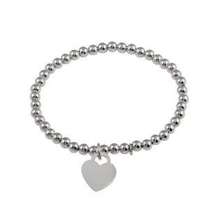 Heart/Bead Charms Bracelet 18k W/G Overlay 925