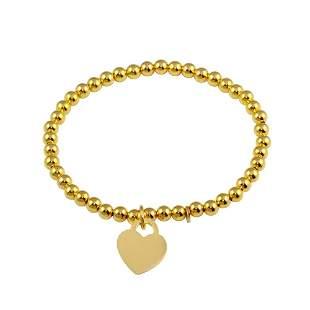 Heart/Bead Charms Bracelet 18kY/G Overlay 925